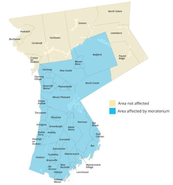 Map of Westchester Natural Gas Moratorium
